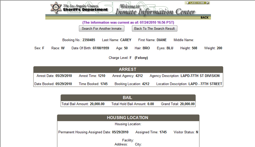 Diane Carey Arrest Record